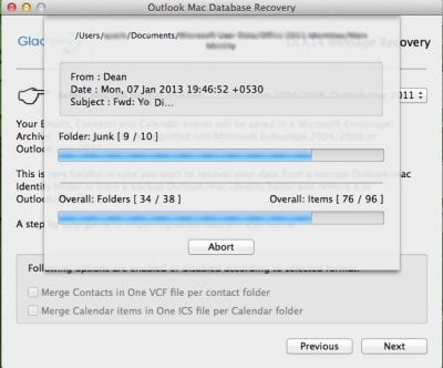 Outlook Mac Data recovery